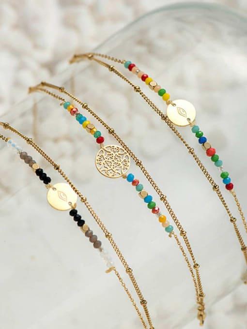 YAYACH Stainless steel Bead Round Bohemia Link Bracelet 2