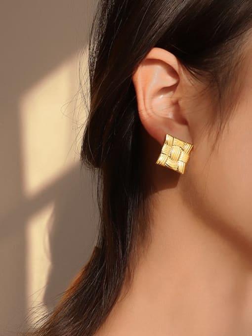 MAKA Titanium Steel Line Geometric Minimalist Stud Earring 1