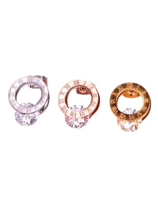K.Love Titanium Steel Cubic Zirconia Number Minimalist Stud Earring 0