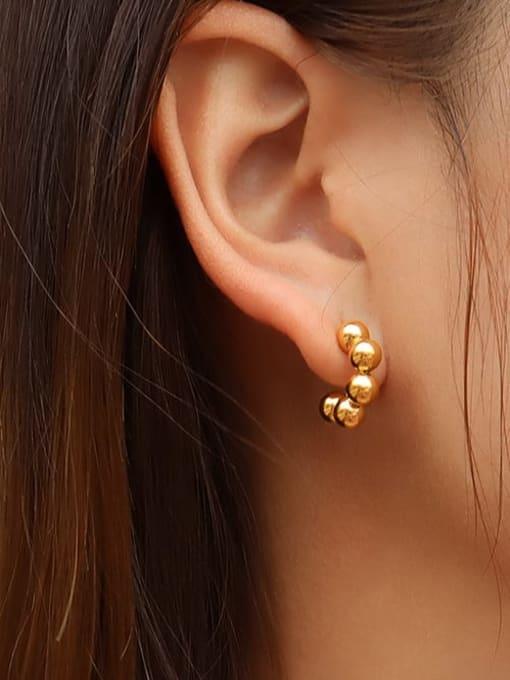 MAKA Titanium Steel Bead C shape Minimalist Stud Earring 1