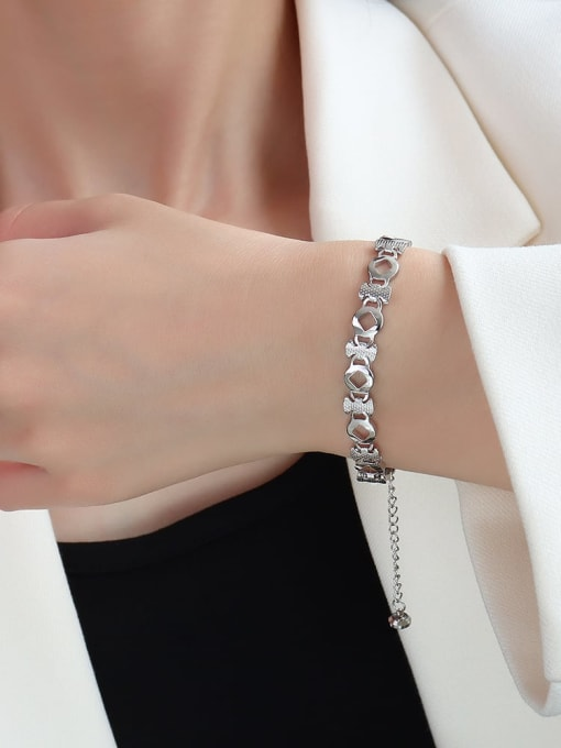 E090 steel prismatic  16+ 5cm Titanium Steel Geometric Minimalist Link Bracelet