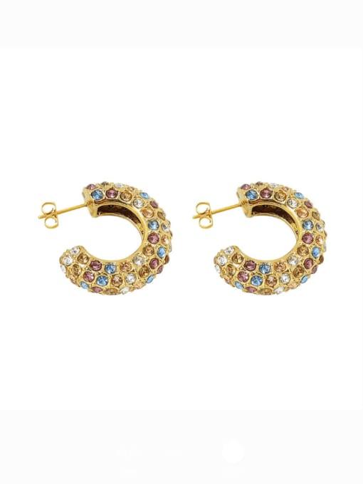 F538 color Zircon Earrings pair Titanium Steel Cubic Zirconia Geometric Minimalist Stud Earring