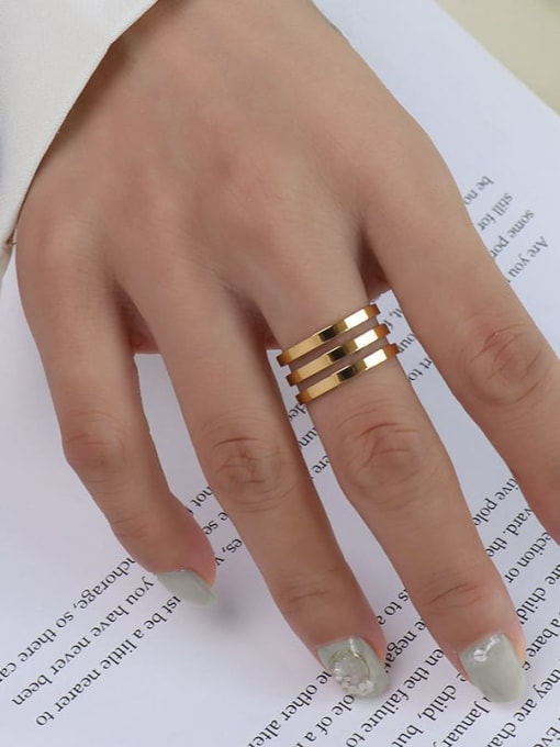 A005 three layers of gold Titanium 316L Stainless Steel Geometric Vintage Band Ring with e-coated waterproof