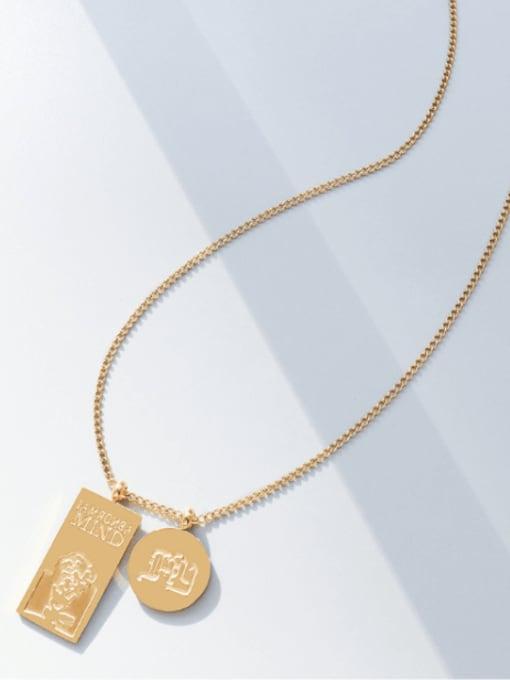 MAKA Titanium Steel Geometric Hip Hop Necklace 2