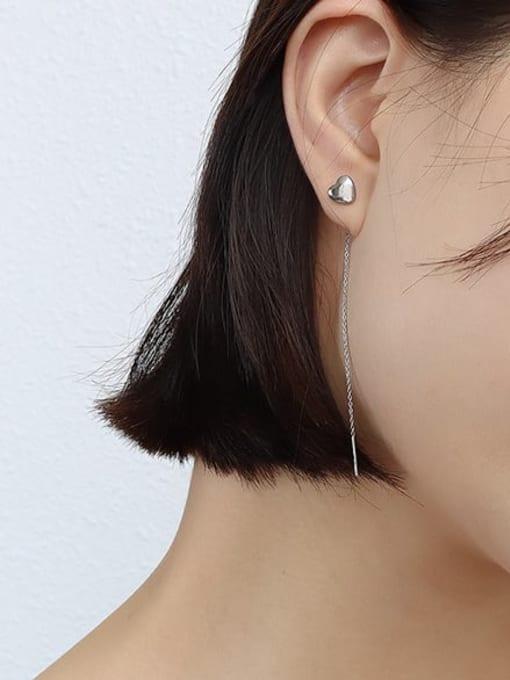 steel colors Titanium Steel Tassel Minimalist Threader Earring