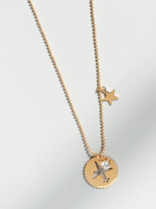MAKA Titanium Steel Rhinestone Round Minimalist Necklace 2