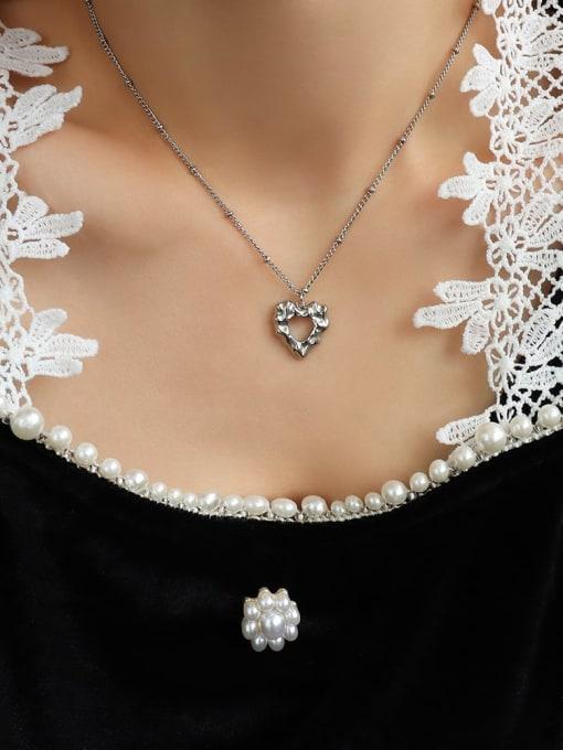 P1092 Steel Necklace 40+ 5cm Titanium Steel Hollow Heart Hip Hop Necklace