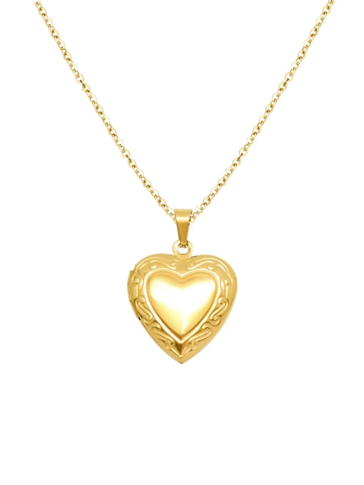 MAKA Titanium 316L Stainless Steel Smooth Heart Minimalist Necklace with e-coated waterproof 0