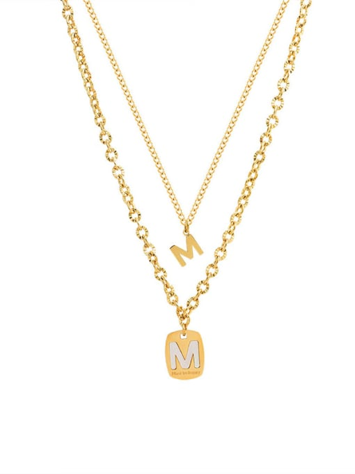 MAKA Titanium Steel Shell Letter Vintage Multi Strand Necklace