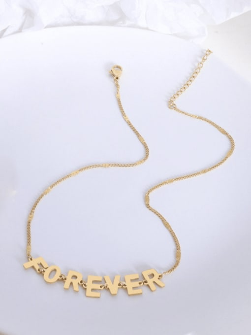 P1085 gold color Necklace 32 +5cm Titanium 316L Stainless Steel Minimalist Letter  Earring and Necklace Set with e-coated waterproof