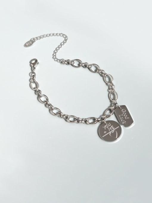 Steel color Bracelet 15 cm Titanium Steel Geometric Vintage Link Bracelet