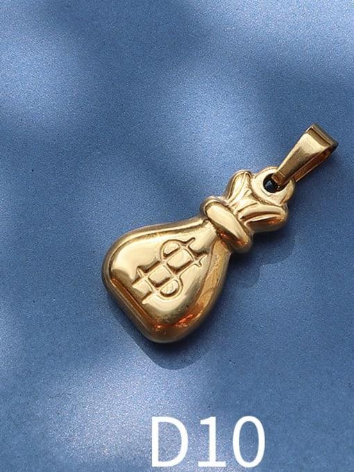 D10 gold Purse Titanium Steel Animal  Bird Cute Pendant