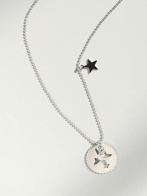 Steel necklace 40+5cm Titanium Steel Rhinestone Round Minimalist Necklace