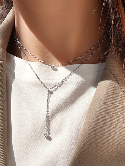 Steel double necklaces Titanium Steel Tassel Minimalist Multi Strand Necklace