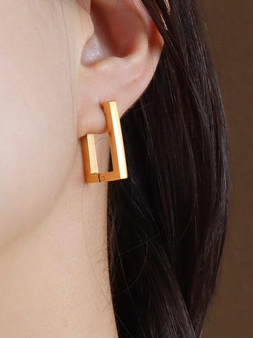 F254 Gold Earrings Titanium 316L Stainless Steel Geometric Minimalist Huggie Earring with e-coated waterproof
