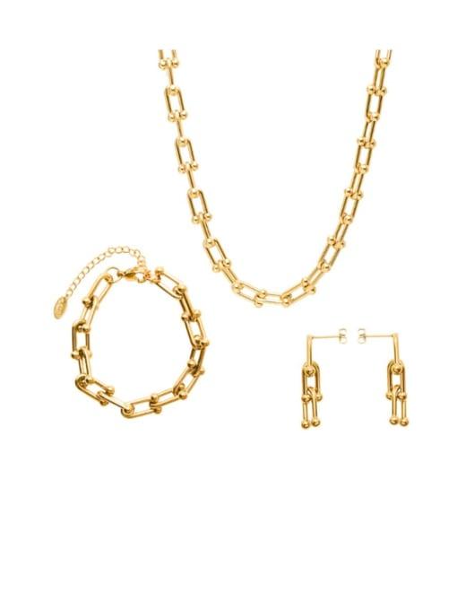 MAKA Titanium Steel Vintage Geometric  Bangle Earring and Necklace Set 3
