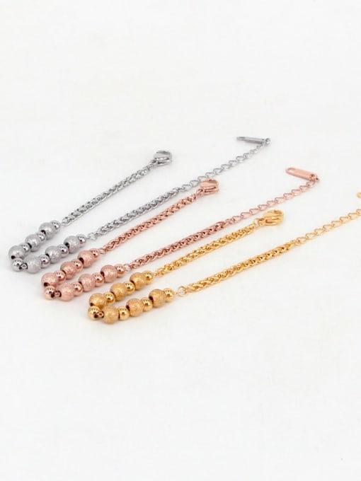 K.Love Titanium Steel Oval Minimalist Beaded Bracelet 0