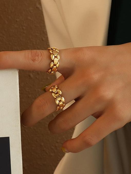 Gold Titanium Steel Geometric Vintage Band Ring