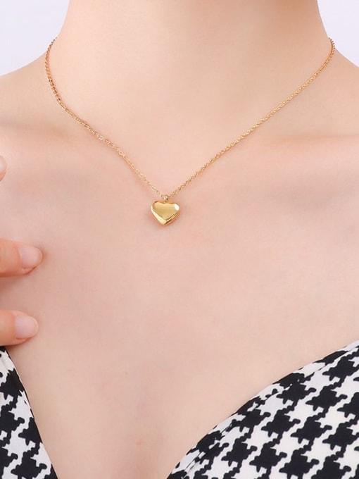 P051 gold peach heart necklace 40 +5cm Titanium Steel Heart Minimalist Necklace