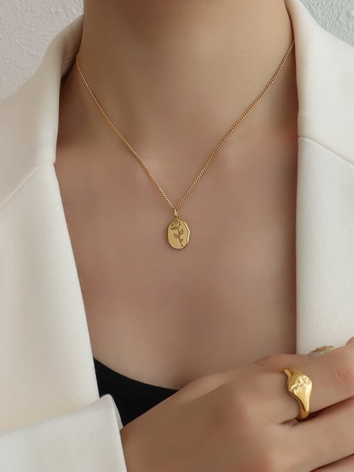 P1088 gold rose necklace 40+ 5cm Titanium 316L Stainless Steel Flower Minimalist Necklace with e-coated waterproof