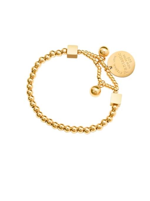 Gold Elastic Bracelet Titanium Steel Geometric Vintage Beaded Bracelet