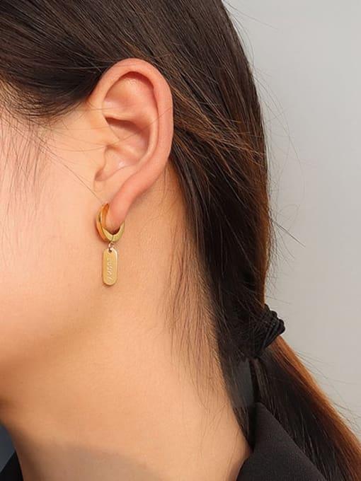 MAKA Titanium Steel Asymmetry Geometric Minimalist Huggie Earring 1