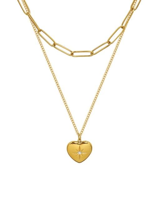 MAKA Titanium Steel Heart Minimalist Multi Strand Necklace 0