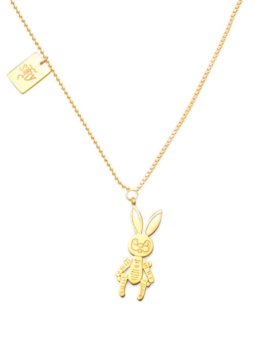 Golden mechanical Rabbit Necklace 40+5cm Titanium Steel Irregular Cute Necklace