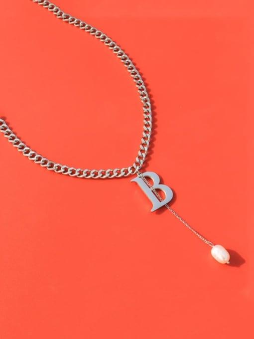 Steel necklace 40+5cm Titanium Steel Imitation Pearl Tassel  Letter B Vintage Necklace