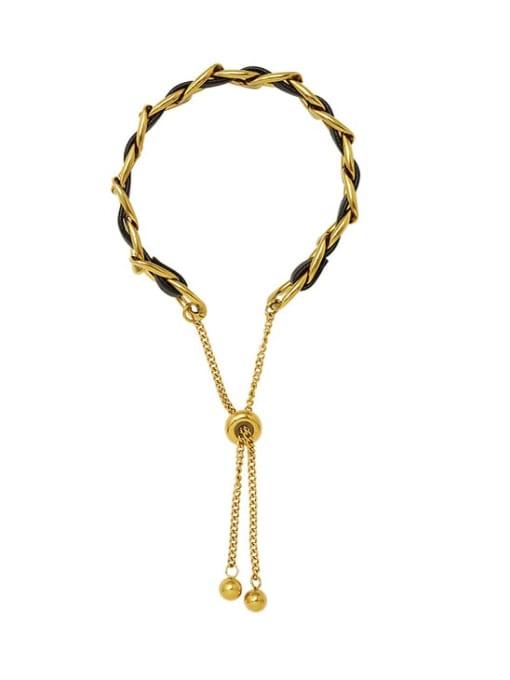 MAKA Titanium Steel Leather Geometric Vintage Adjustable Bracelet