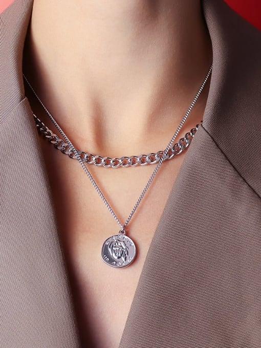 MAKA Titanium Steel Geometric Vintage Multi Strand Necklace 3