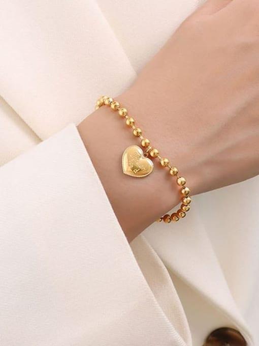 MAKA Titanium Steel Bead Heart Minimalist Beaded Bracelet 2