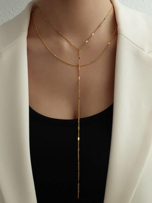 Long and short suit gold Titanium Steel Tassel Minimalist Lariat Necklace