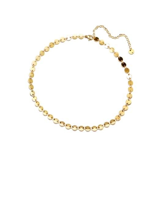 Gold thick disc collar 35+8cm Titanium Steel Smooth Geometric Vintage Necklace