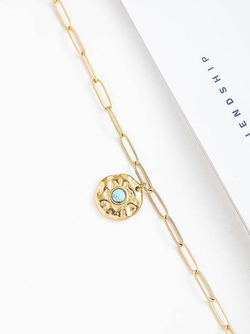 YAYACH Natural turquoise inlaid golden stainless steel necklace 2