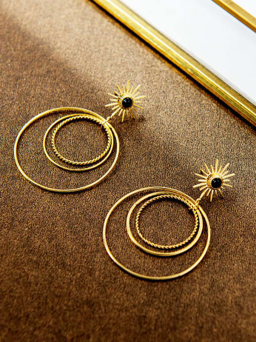 YAYACH French style natural stone simple multi circle exaggerated Earrings 1