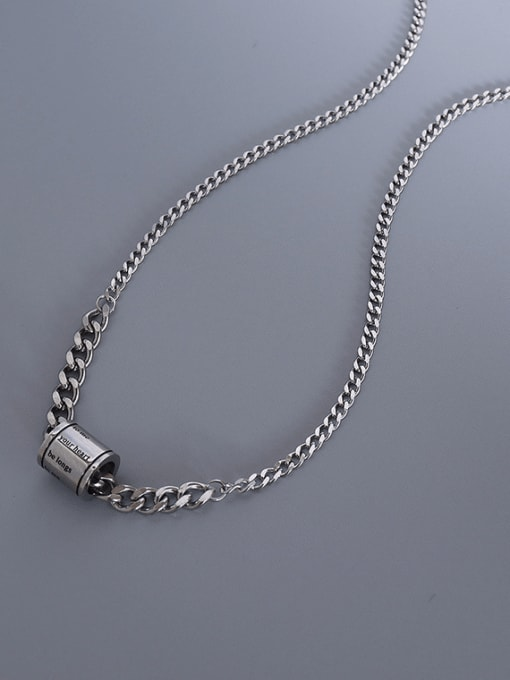 MAKA Titanium Steel Geometric  Letter Vintage Necklace 3