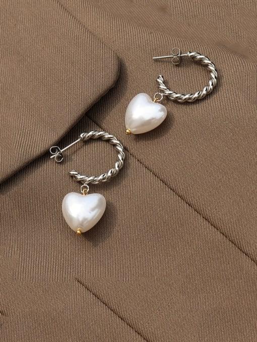 Steel Titanium Steel Freshwater Pearl Heart Minimalist Drop Earring
