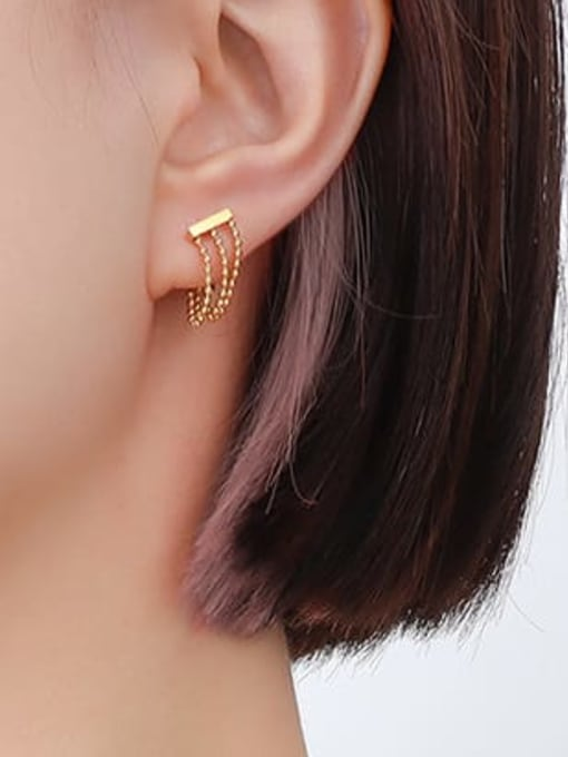 MAKA Titanium Steel Bead Tassel Minimalist Drop Earring 1