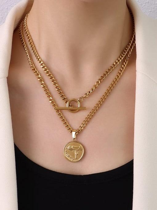 P1107 gold necklace 88cm Titanium Steel Geometric Hip Hop Multi Strand Necklace