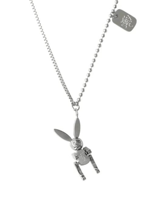 Silver Technological wind movable rabbit clavicle chain
