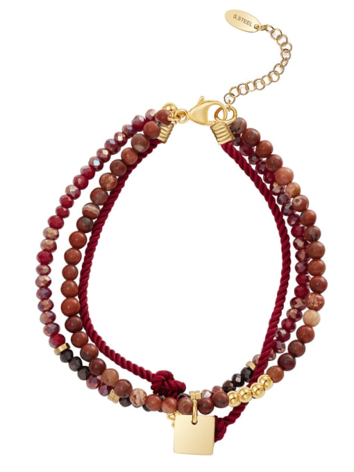 Red Handmade diy simple personality stainless steel jewelry