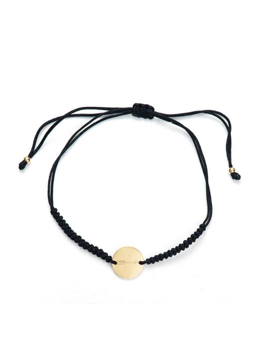 Black Stainless steel Round Minimalist Adjustable Handmade Weave Bracelet