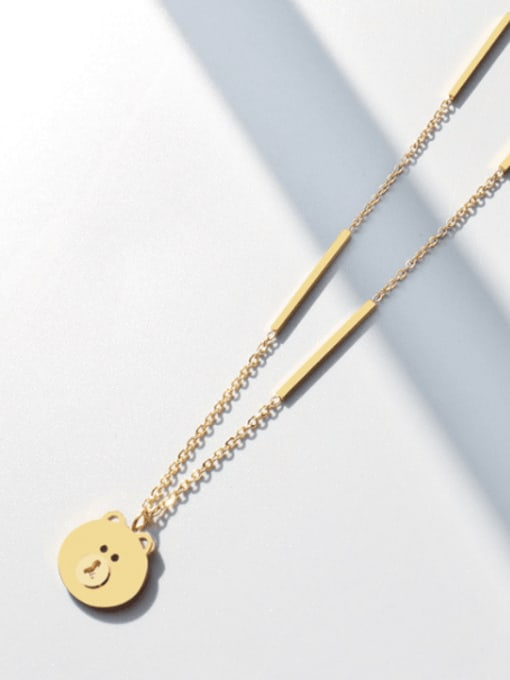 MAKA Titanium Steel Bear Cute Necklace 2