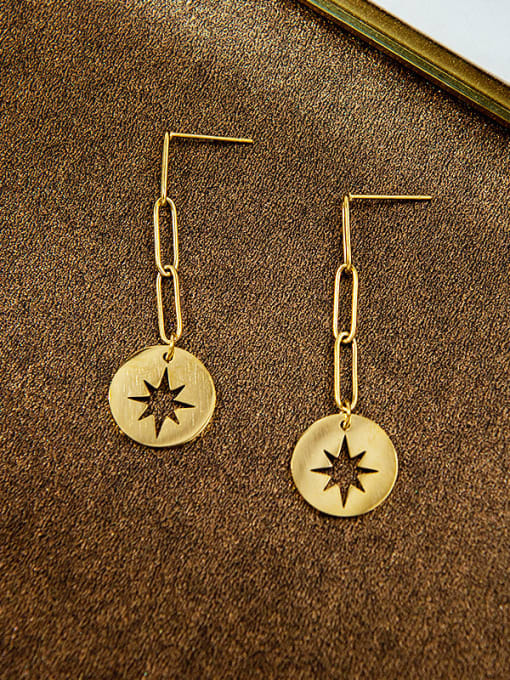 YAYACH European and American personalized hollow awn star titanium steel earrings 1