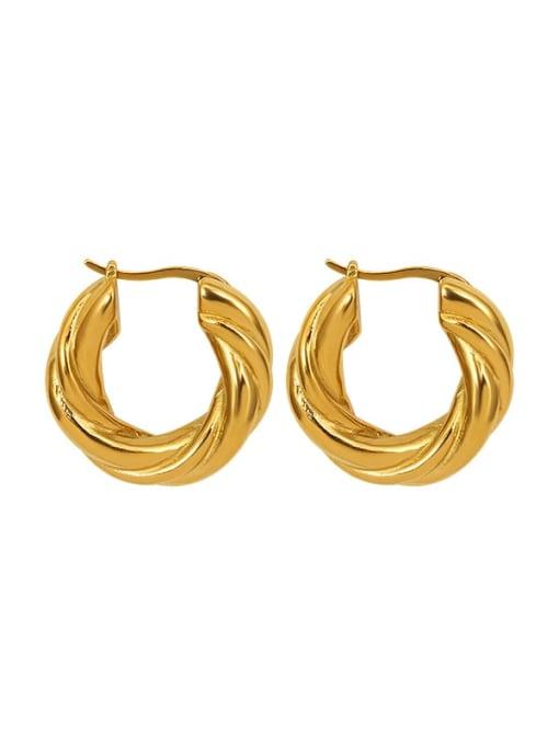 Twist gold Titanium Steel Geometric Vintage Stud Earring