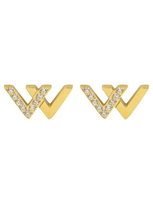 MAKA Stainless steel Cubic Zirconia Letter Minimalist Stud Earring