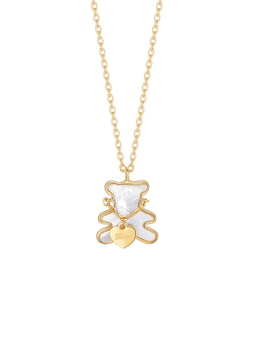 YAYACH Exquisite little bear, sweet girl loves to hug bear, cute white shell, wild clavicle chain 0