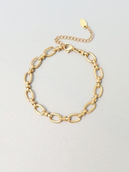 E221 gold bracelet 15 +5cm Titanium Steel Minimalist Geometric  Braclete and Necklace Set