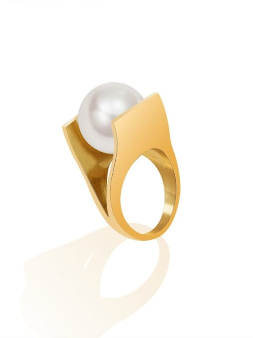 Gold Titanium Steel Imitation Pearl Geometric Vintage Band Ring